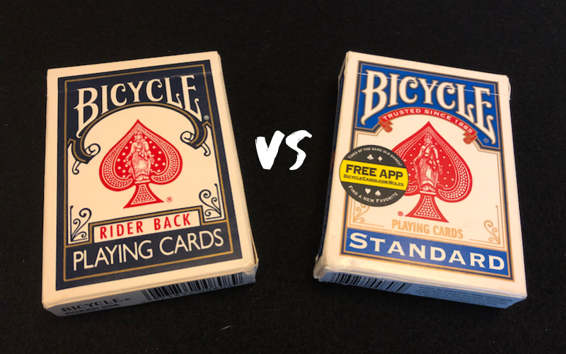 A rider back and standard deck of Bicycle cards