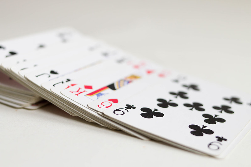 Deck of cards laying on table